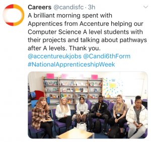 An image of an Accenture Apprentices Tweet